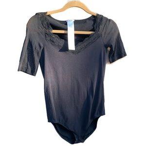 Wolford Black Sheer Sleeve Stretch Bodysuit